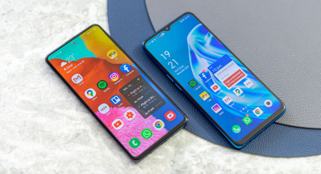 Samsung Galaxy A51 vs Oppo A91 voorkant